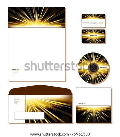 Corporate Identity Template Vector -  letterhead, business and gift cards,  cd, cd cover, envelope - stock vector