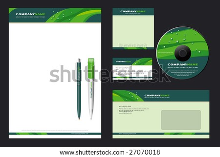 Corporate Identity Template Vector  with  green background - blank, card, pen, cd, note-paper, envelope - stock vector