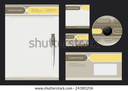 Corporate Identity Template Vector  with  grey and yellow  background - blank, card, pen, cd, note-paper, envelope - stock vector