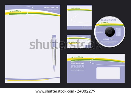 Corporate Identity Template Vector  with  nature  background - blank, card, pen, cd, note-paper, envelope - stock vector
