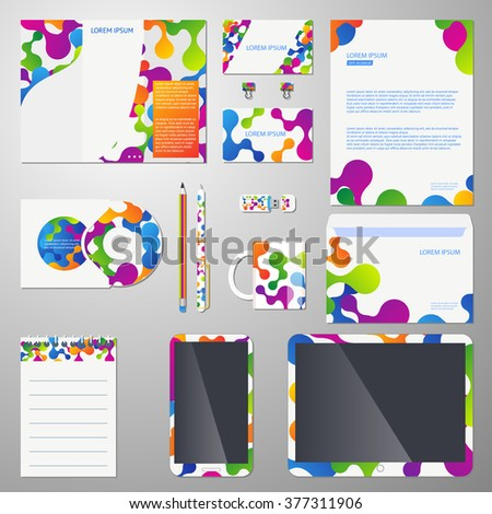 Corporate identity template with colored molecular structure. Company  brand, business branding design. Vector illustration