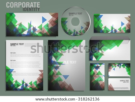Corporate identity template with green triangles