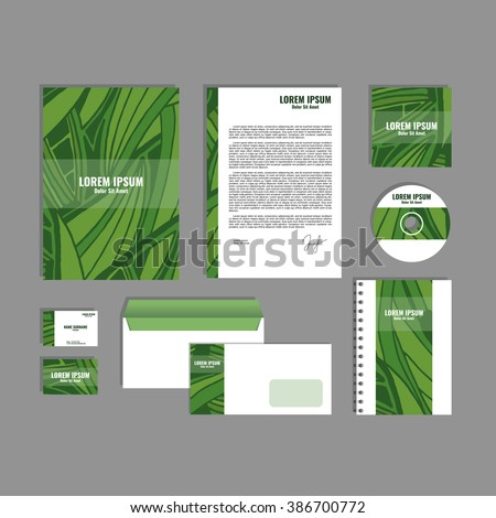 Corporate identity template with hand drawn green exotic tropical leaf pattern, creative stationery branding mock-up set of separated, movable objects. EPS 10.