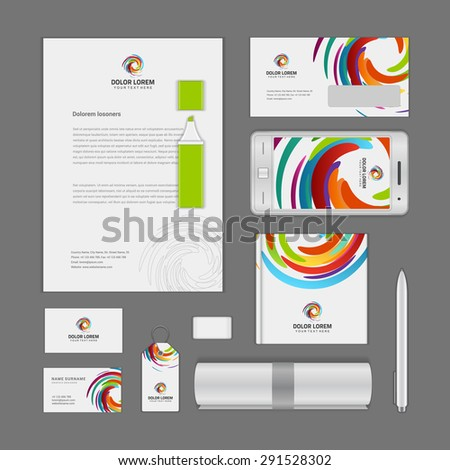 Corporate Identity Template with Logotype. Vector Illustration of Business Corporate Objects - stock vector