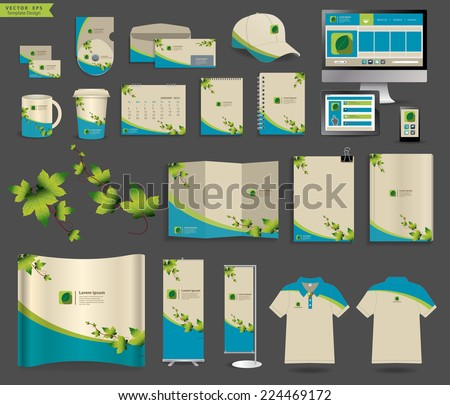 Corporate identity templates, Blank name card, envelope, mugs, mobile phone, tablet, calendar, notebook paper, folded paper, open book, exhibition banners stands, polo t-shirt, Vector illustration  - stock vector