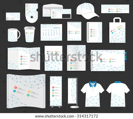 Corporate identity templates communication social mesh, Blank name card, envelope, mugs, calendar, notebook paper, folded paper, open book, exhibition banners stands, polo t shirt, Vector illustration - stock vector