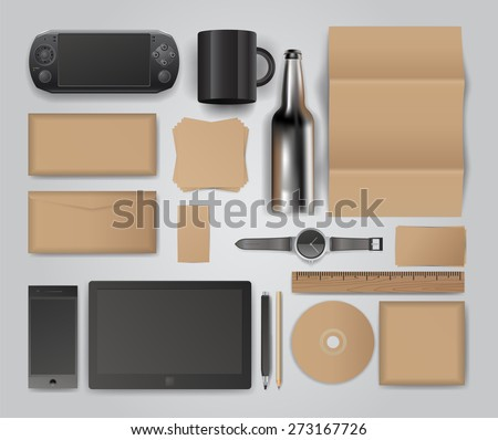Corporate identity templates. Corporate identity templates:blank, business cards, disk, envelope, smart phone, pen, badge, cup, brand-book. Isolated with soft shadows - stock vector