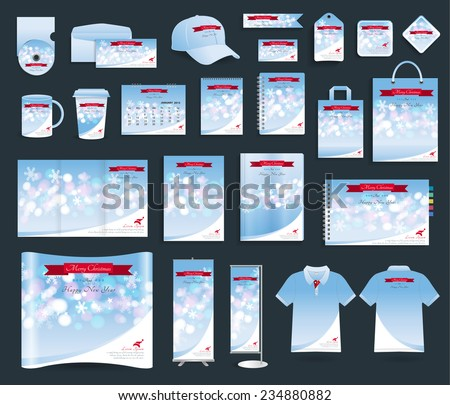 Corporate identity templates with merry christmas and happy new year background, Blank name card, envelope, mugs, notebook paper, folded paper, magazine cover, exhibition banners stands, polo t shirt - stock vector