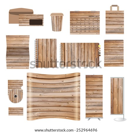 Corporate identity templates with texture of wood background, blank name card, envelope, calendar, cover notebook paper, folded paper, exhibition banners stands, Vector illustration - stock vector