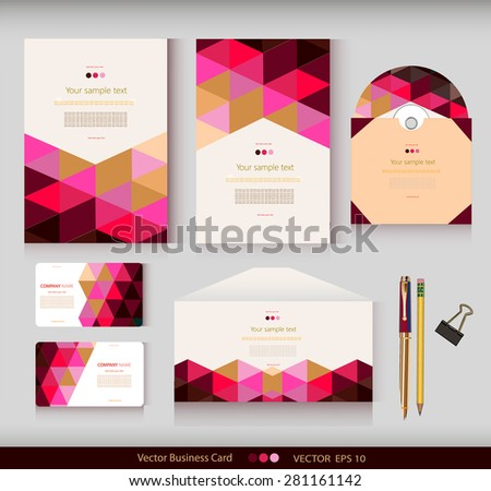 Corporate Identity. Vector templates. Geometric pattern. Envelope, cards, business cards, tags, disc with packaging, pencils, clamp. With place for your text - stock vector