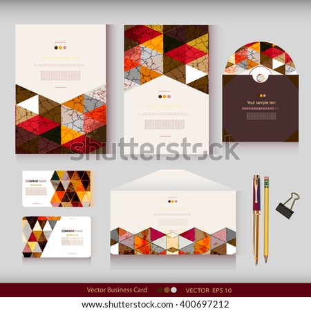 Corporate Identity.Vector templates.Geometric pattern.Envelope,cards,business cards,tags,disc with packaging,pencils,clamp.Branding design.Business stationery.With place for your text - stock vector