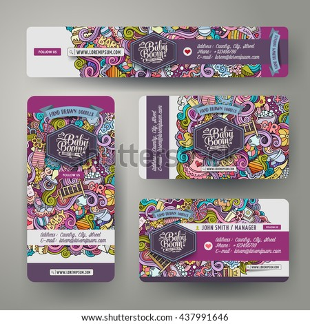 Corporate Identity vector templates set design with doodles hand drawn baby theme. Colorful banner, id cards, flayer design. Templates set - stock vector