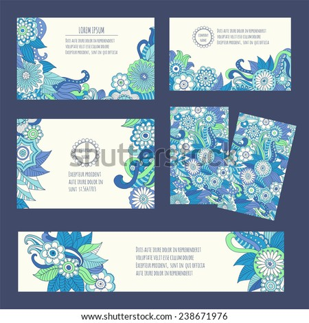Corporate identity vector templates set with art ornamental theme - stock vector