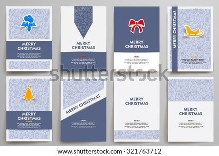 Corporate identity vector templates set with doodles Christmas theme. Target marketing concept - stock vector