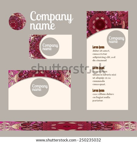 Corporate Identity vector templates set with indian ornament and ottoman motifs. Set retro business card. Vintage decorative elements. Hand drawn background.  - stock vector