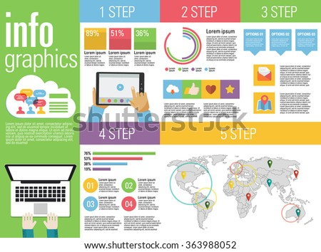 Corporate infographics vector elements in flat business colors with laptop, tablet and smarphone.  - stock vector