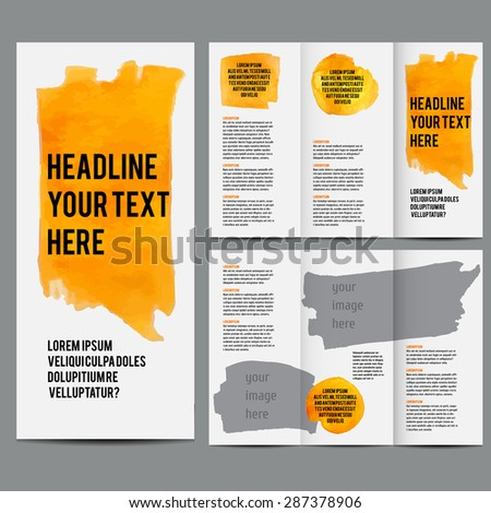 settlement brochure template - vector poster templates watercolor paint splash stock