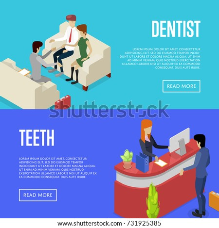 Corporate Office Life Isometric Posters Team Workspace Concept With Busy Business People Company Reception