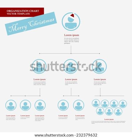 Corporate organization chart template with business people icons. Corporate hierarchy. Human model connection. Christmas version. Vector illustration. flat design. - stock vector