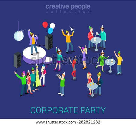 Corporate party holiday event team building flat 3d web isometric infographic human relations HR concept vector template. Group young men girls dancing. Creative people world collection. - stock vector