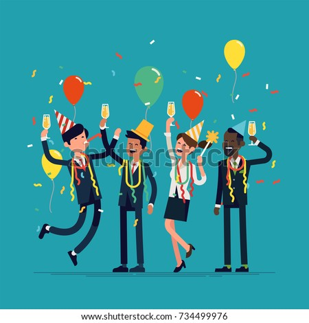Corporate party vector flat design illustration with cheerful business team celebrating. Ideal for corporate anniversary or happy new year party graphic and web design