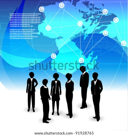 corporate people on blue background - stock vector