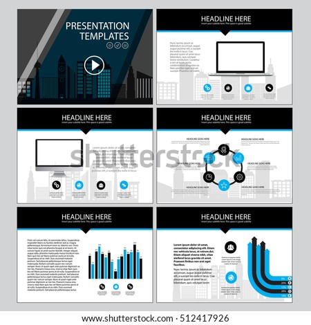 Corporate presentation vector template. Business presentation graphic design. Minimalistic layout with infographic, front page, content.