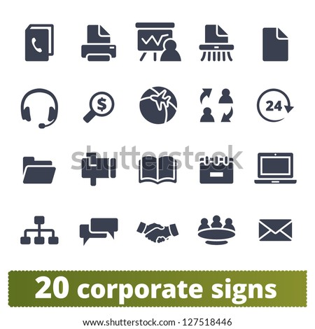 Corporate signs: vector set of business communication and documentation - stock vector