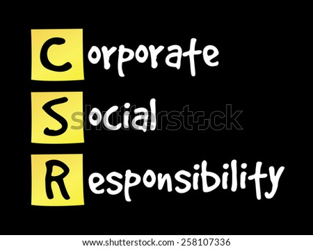 Corporate Social Responsibility (CSR) on yellow sticky notes - stock vector