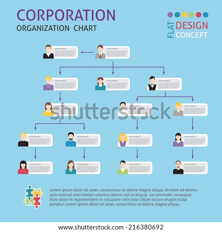 Corporate structure organisation chart infographics set vector illustration - stock vector