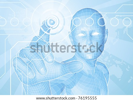 Corporate style background concept. Futuristic blue figure touching button with world map in background. - stock vector