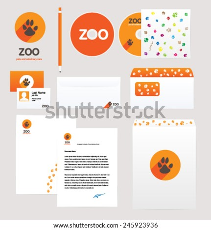 Corporate style design template. Vector. Editable. Animals, Pets. - stock vector