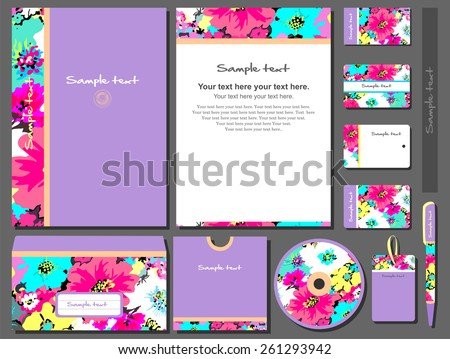 Corporate style with floral motive. 11 various templates. - stock vector