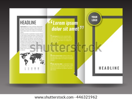 Corporate trifold brochure template design. With world map infographic element, frame and ribbon. Stock vector.