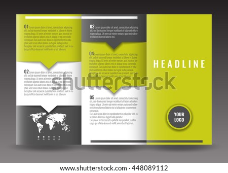 Corporate Trifold Brochure Templates Design World Stock Vector