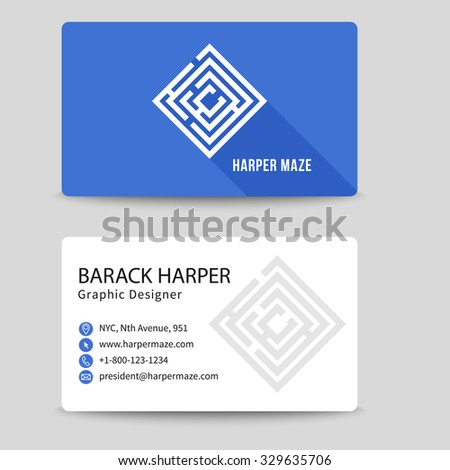 Corporate vector business card with labyrinth symbol. Brand and logotype, visiting corporate label, address and phone number illustration - stock vector