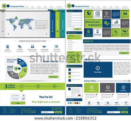 Corporate Website template. Multifunctional Media design. Mobile interface. Vector. Editable. Two Pages. - stock vector