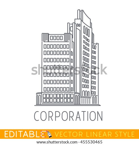 Corporation business building big company sketch stock for Architectural design drawing company