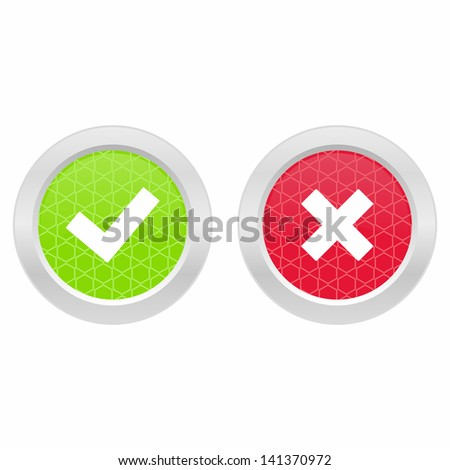 Correct and incorrect mark - stock vector