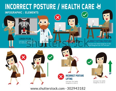 correct and incorrect posture. infographic element.sitting.lifting.walk.health care concept.vector flat icons graphic design.medical illustration. - stock vector