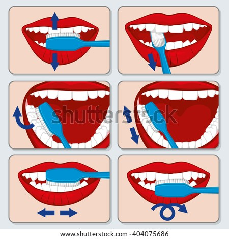 Correct tooth brushing vector infographics. Dental brushing  tooth and toothbrush using brushing, brushing banner illustration - stock vector