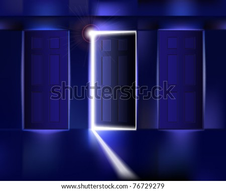 Corridor with open door. Vector illustration. - stock vector