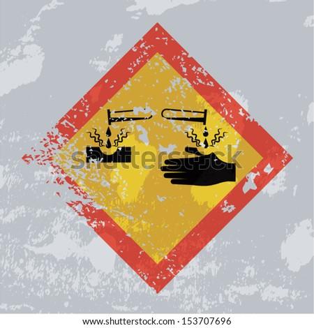 Corrosion hazard grunge sign.  - stock vector