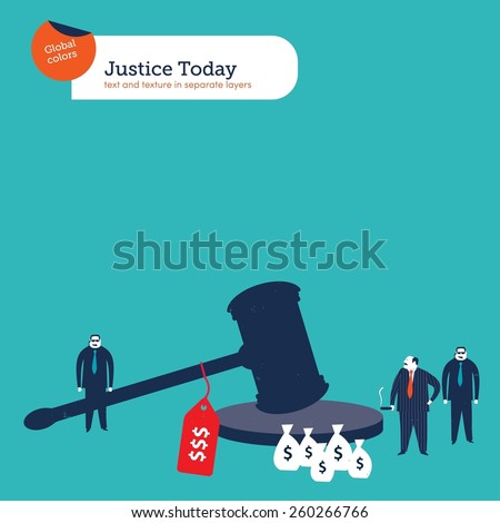Corrupt mafia boss bribing justice. Vector illustration Eps10 file. Global colors. Text and Texture in separate layers. - stock vector