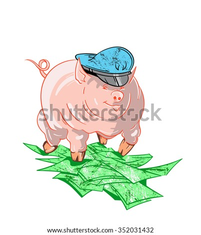 Corrupted police pig. - stock vector