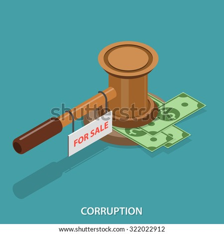 Corruption isometric flat vector concept. Judge gavel with FOR SALE sign. - stock vector
