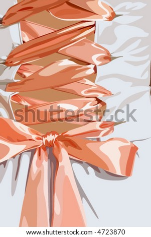 Corset with ribbon - stock vector
