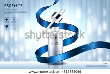 Cosmetic ads template, essence bottle with blue ribbon and glitter elements on the background, 3d illustration