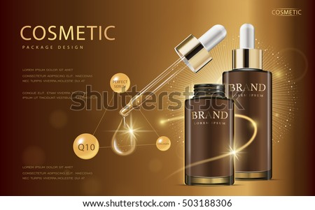 Cosmetic ads template, glass droplet bottle with essence oil isolated on brown background. 3D illustration. Q10 and other ingredients on poster.