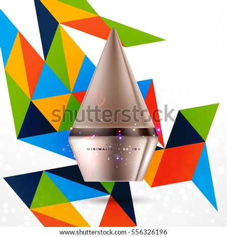 Cosmetic ads with hydrating facial cream mask bottle isolated on glitter particles background with geometric modern elements